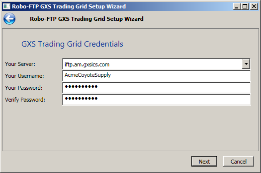 GXS Trading Grid Setup Wizard Screenshot